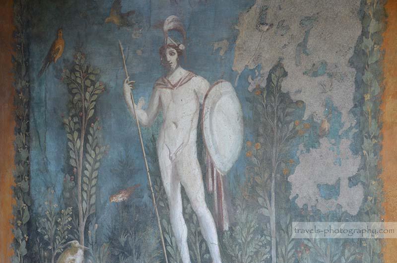 Reisefotografie von Wandbemalungen aus der historischen Stadt Pompeij in Italien